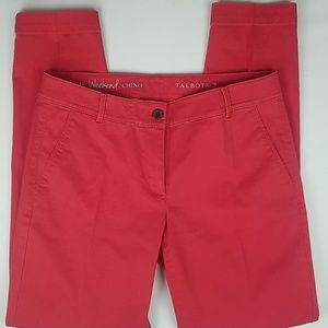 Talbots The Weekend Chino Red stretch Tapered leg
